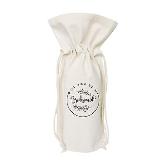 Saco de vinho de lona de algodão de dama de honra