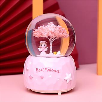 Night Light Music Box Crystal Ball Craft Home Desktop Decor Snow Globe Glass Wedding Gift Winter Lovers Snowball with Snowflake