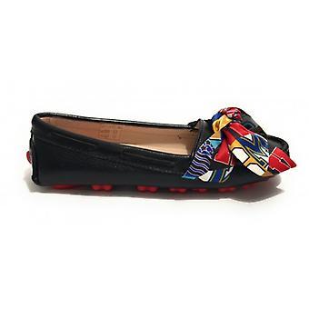 Dame sko kjærlighet Moschino svart skinn mokacasic med bue og gummi bunn Ds19mo14