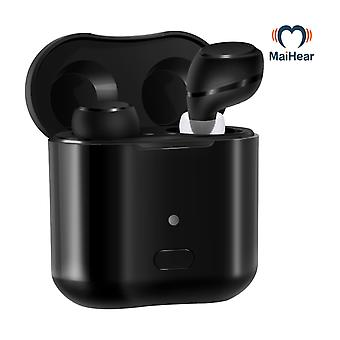 Rechargeable wireless invisible earbuds hearing aid for adults seniors magnetic contact charging box