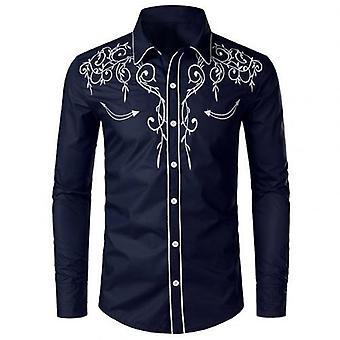 Camisas de hombre, bordadas sólidas, cuello rechazado, manga larga, delgada, oficina