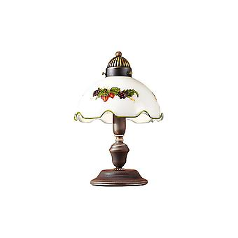 Cottage Stijl Glazen Koepel Tafellamp Mat Antiek Messing, 1x E27