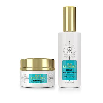 Sleep & relax gift set - anxiety relief balm and pillow spray, 100% natural & vegan, made in france