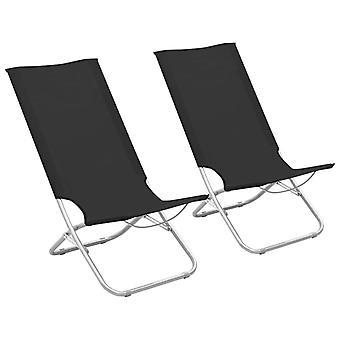 vidaXL Taitettavat rantatuolit 2 kpl. Musta kangas