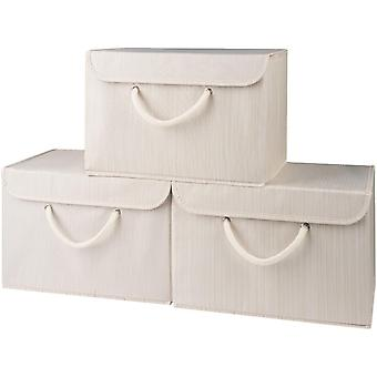 Gerui NEW Premium Beige Storage Box with lid-Extra wide rope handle-Strong, secure fastening-Suitable for