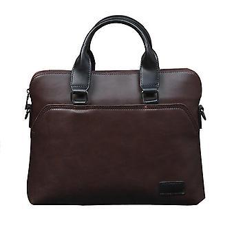 Men Briefcase, Office Handbag, Leather Shoulder Messenger Bag