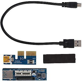 FengChun PCI-E 1X Verlängerungskabel Kabel Riser Card Power USB Extender Schwarz UEX101 30cm PCB