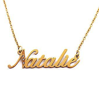 Kigu Natalie - Halsband med anpassat namn, med zirkoner, guldpläterade