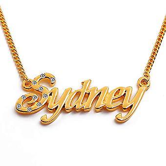 """L Sydney - 18-karat forgyldt halskæde, med tilpasselig navn, justerbar kæde af 16 """"- 19"""", i Regal Packaging"""