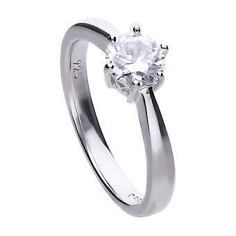 Diamonfire Womens 925 Sterling Silver Rhodium, Palladium &Platinum Plated Clear Cubic Zirconia 0.5ct Solitaire Ring