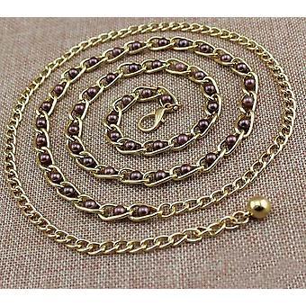 Ladies Pearl Waist Chain Metal Belt