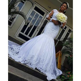 mote lange ermer afrikanske havfrue brudekjoler (sett 2)