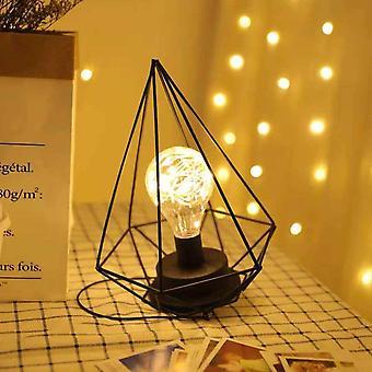 Bedside Lamp Decorative Night Lamp,bulb Night Light Retro Table Lamp Metal Battery Desk Lamp Decoration (star)