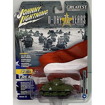 WWII M4A3 Sherman Tank D-Day 75th Year 1:100 Johnny Lightning JLML003A