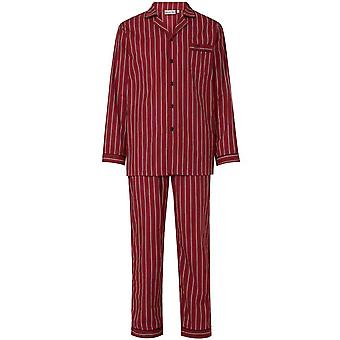 Slenderella WR8801 Men's Red Striped Cotton Long Sleeve PJ Set