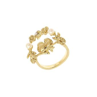 Anello Fantasia, Colore Oro in Zinco, Ottone, Perline, Taglia 14
