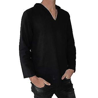 Yunyun Men's Hooded V-neck Solid Color Cardigan Casual Personality Long-sleeved T-shirt