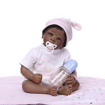 Poupée renaissante 50cm baby girl poupées silicone douce boneca reborn brinquedos bonecas cadeau des enfants afro-américain nouveau-né
