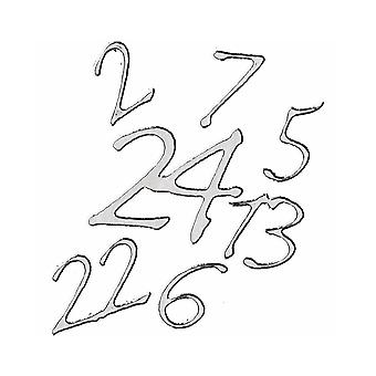 LAST FEW - 24 Zilveren Advent Kalender Nummer Stickers voor Kerst Ambachten - Peel Offs Style
