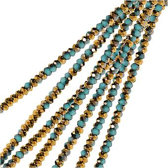 Crystal Beads, Faceted Rondelle 1.5x2.5mm, 2 Strands, Opaque Dark Blue w/Half Gold Iris