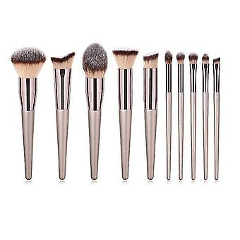 10pcs Champagne Makeup Brushes Set Professional For Cosmetic Foundation Powder|Eye Shadow Applicator