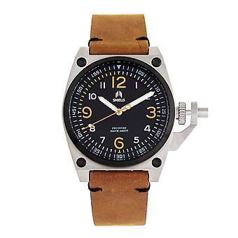 Shield Pascal Leather-Band Heren Diver Horloge - LichtBruin/Zwart