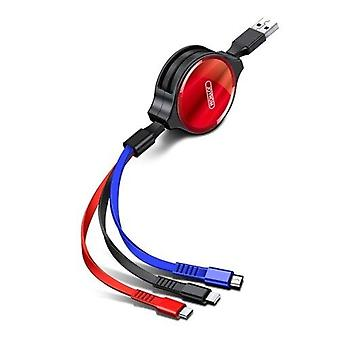 S-M365 3 in 1 Micro USB+8 Pin+Type-C Interface TPE Data Cable, Length:1.2M(Red)
