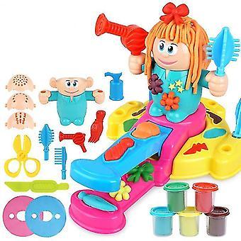 Kid Barber Colored Clay Set Color Mud Cut Hair DIY Handmade Plasticine Educational Toys