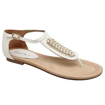 Unisa White T-strap Flat Sandal With Adjustable Ankle Strap