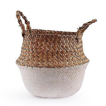 Seagrass Folding Handmade Decorative Rattan Plant Flower Pot Storage Basket