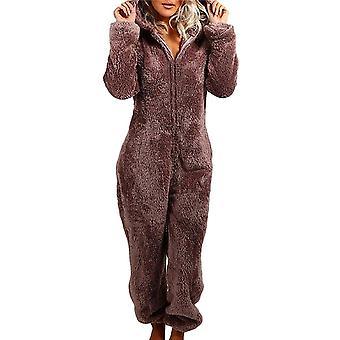 Women Fluffy Fleece Hooded All In One Jumpsuit 1onesie