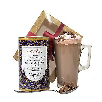 Martin's Chocolatier Hot Chocolate Gift Set (Milk) | Drinking Chocolate Made with Belgian Chocolate Shavings | Includes Glass and Marshmallows