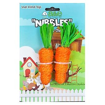 AE Cage Company Nibbles Carrot Loofah Chew Toys with Jute - 2 count