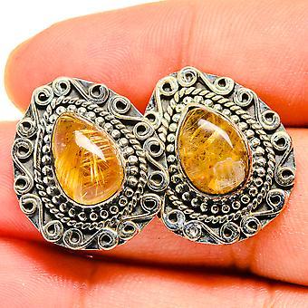 Rutilated Quartz Earrings 7/8' (925 Sterling Silver)  - Handmade Boho Vintage Jewelry EARR419791