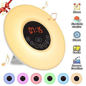 Luonnollinen herätysvalo led herätyskello, monitoiminen värikäs väri vaihtaa musiikkia auttaa nukkumaan ja herättää yövalo kello