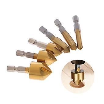 Fem blad chamfering verktyg sexkantiga titan pläterade 6-19mm felsökning 90 grader--
