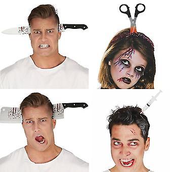 Halloween Strašidelný kuchynský nôž Headband Dekorácie dodáva udalosť Party