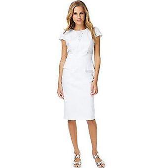 Hvid bomuld rige Broderie Peplum skift kjole DR787-14