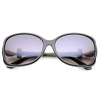 Damskie metalowe świątyni Rhinestone akcent Gradient obiektyw przewymiarowany okulary 61mm