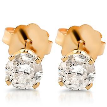 ct de 1/4 rond diamant taillé goujons boucles d'oreilles 14K or