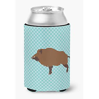 Carolines Treasures  BB8110CC Wild Boar Pig Blue Check Can or Bottle Hugger