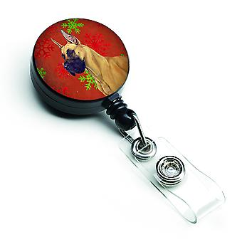 Great Dane Red and Green Snowflakes Holiday Christmas Retractable Badge Reel