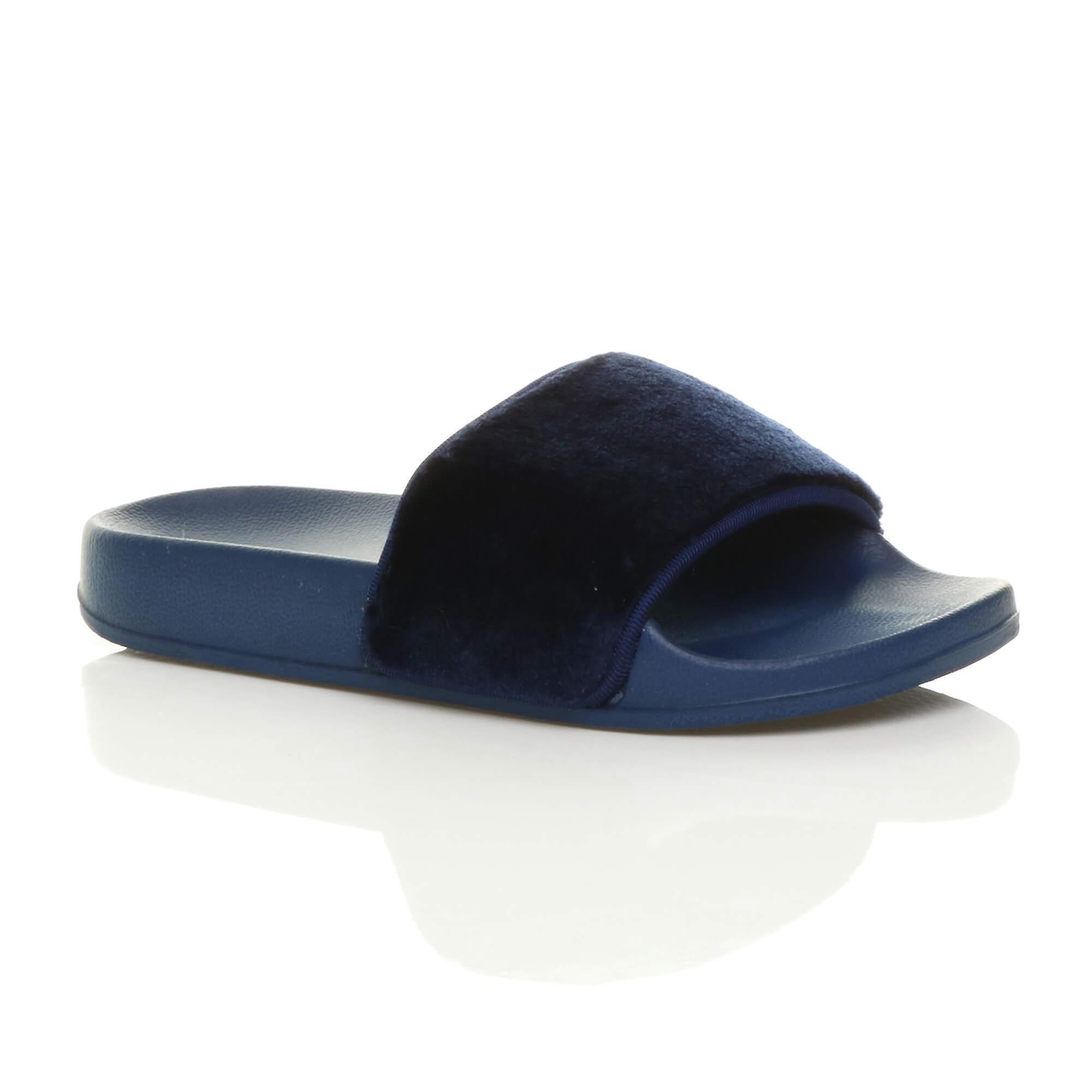 Women Furry Slip On Flat Slippers Slider Ladies Comfy Flip Flop Sandals Shoes US