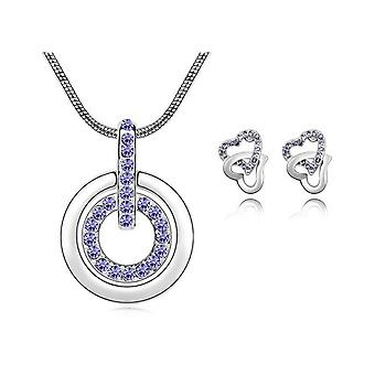Womens Purple Circle Pendant Necklace With Matching Love Heart Earrings Set