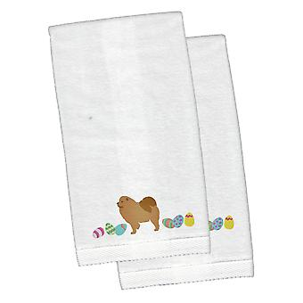 Chow Chow Easter White Embroidered Plush Hand Towel Set of 2