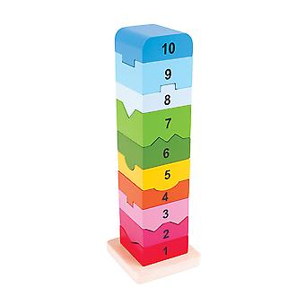 Bigjigs Toys Wooden Stacking Stacker Number Tower Educational Counting