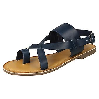 Ladies Leather Collection Toeloop Sandals F00127 - Navy Leather - UK Size 8 - EU Size 41 - US Size 10
