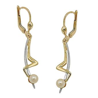 Brisur 42x9mm earring Pearl bicolor with white gold 9Kt GOLD