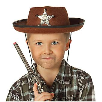 Chapeau de cowboy brun Kids costume accessoire chapeau de shérif de l'ouest