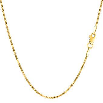 14k żółte złoto diament okrągły cięcia naszyjnik łańcuch pszenicy, 1.15mm
